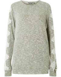 Dorothy Perkins - Tall Grey Lace Sleeve Brushed Jumper - Lyst