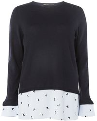 Dorothy Perkins - Only Navy 2-in-1 Pullover Knitted Top - Lyst