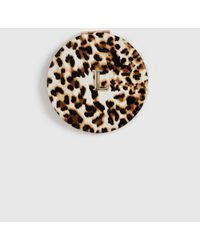 Dorothy Perkins Multi Color Leopard Print Initial L Compact Mirror - Brown
