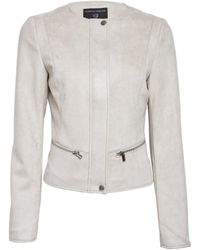 Dorothy Perkins Pebble Suedette Collarless Jacket - Gray