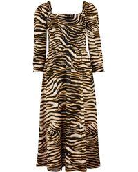 5745a3bd6e Dorothy Perkins - Multi Colour Cheetah Shirred Long Sleeve Midi Skater Dress  - Lyst