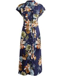 Dorothy Perkins Dp Tall Navy Palm Print Shirt Dress - Blue