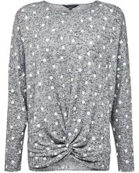 Dorothy Perkins Gray Spotted Brushed Batwing Sweater, Gray