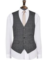 Dorothy Perkins Burton Grey And Camel Highlight Tailored Fit Check Suit Waistcoat, Grey