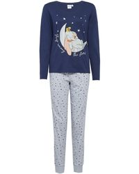 Dorothy Perkins Navy And Gray Dumbo Disney Pajama Set - Blue