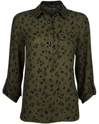 Dorothy Perkins Olive Printed Roll Sleeve Shirt - Green