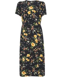 Dorothy Perkins Black Floral Print Empire Seam Split Midi Dress, Black