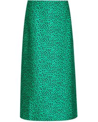 Dorothy Perkins Green Animal Printed Bias Cut Midi Skirt, Green