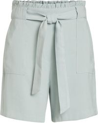Vila Turquoise Paperbag Shorts - Blue