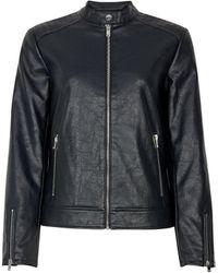Dorothy Perkins Black Faux Leather Collarless Jacket, Black