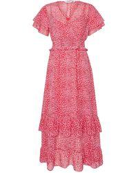 Dorothy Perkins Dp Petite Pink Leopard Print Ruffle Maxi Dress