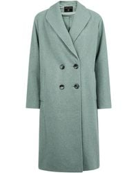 Dorothy Perkins Sage Double Breasted Coat - Green