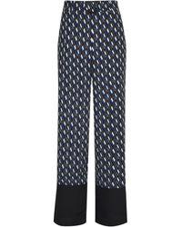 Dorothy Perkins Blue Geometric Print Gold Ring Palazzo Trousers