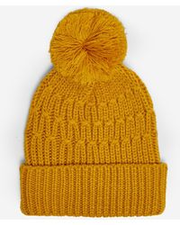 Dorothy Perkins Yellow Chunky Pom Pom Hat - Orange