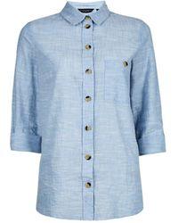 Dorothy Perkins Chambray Slub Shirt, Chambray - Blue