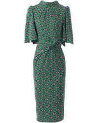Jolie Moi Jolie Moi Green Geometric Print Flare Sleeve Dress, Green