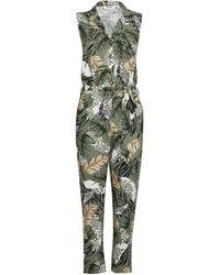 Dorothy Perkins Dp Petite Khaki Safari Print Jumpsuit, Khaki - Natural