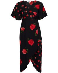 Dorothy Perkins Petite Black Rose Print Wrap Dress - Pink