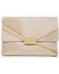 Dorothy Perkins - Gold Square Hardware Clutch Bag - Lyst