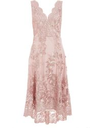 Izabel London Quiz Pink Embroidered Dip Hem Skater Dress