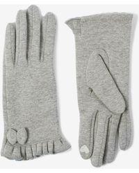 Dorothy Perkins Grey Jersey Bow Gloves - Gray