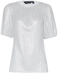Dorothy Perkins Silver Puff Sleeve Top, Silver - Metallic