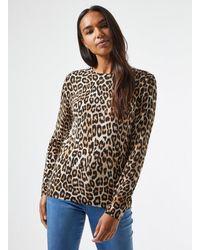 Dorothy Perkins Multi Color Leopard Print Crew Neck Sweater - Multicolor