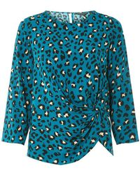 188e3abc129884 Lyst - Dorothy Perkins Khaki Leopard Print Batwing Sleeve Top