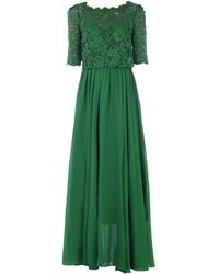Jolie Moi Lace Overlay Maxi Dress - Green