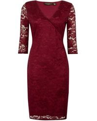 Dorothy Perkins Oxblood Wrap Lace Bodycon Dress - Red