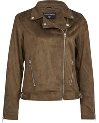 Dorothy Perkins Khaki Suedette Biker Jacket, Khaki - Natural