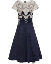 Dorothy Perkins Chi Chi London Navy Cap Sleeve Tea Dress - Blue