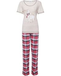 Dorothy Perkins Tall Multi Color Check Print Fa La Llama Pajama Set - White