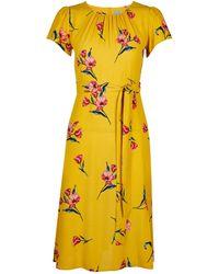 Dorothy Perkins - Petite Yellow Floral Print Midi Dress - Lyst