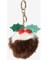 Dorothy Perkins Multi Color Novelty Christmas Pudding Pom Pom Keyring - Brown