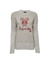 Dorothy Perkins Gray Candy Cane Kisses Sweater