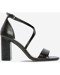 Dorothy Perkins Wide Fit Black Lizard Design 'selly' Heeled Sandals, Black