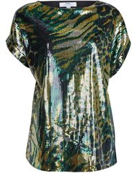 Dorothy Perkins Tall Green Camouflage Print Sequin T-shirt