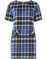 Dorothy Perkins Blue And Grey Checked Tunic, Blue