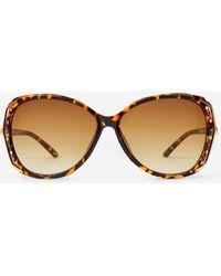 Dorothy Perkins Brown Tort Diamante Trim Sunglasses