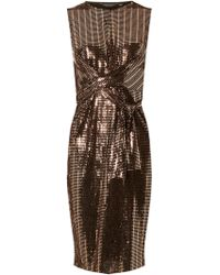 Dorothy Perkins Bronze Square Glitter Twist Detail Bodycon Dress - Brown