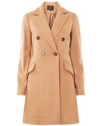 Dorothy Perkins - Camel Double Breasted Pea Coat - Lyst