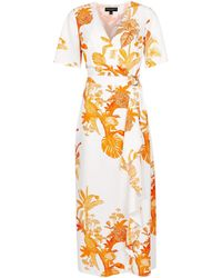 Dorothy Perkins Cream And Coral Parrot Print D-ring Wrap Maxi Dress - Orange