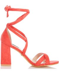 fa2c448af5b Dorothy Perkins - Quiz Coral Tie Up Block Heel Sandals - Lyst