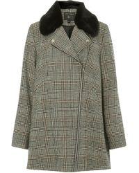 Dorothy Perkins - Multi Colour Check Faux Fur Collar Biker Coat - Lyst