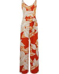 Dorothy Perkins Orange Leaf Print Jumpsuit, Orange