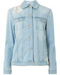 Dorothy Perkins - Blue Bleach Lace Applique Denim Jacket - Lyst