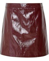 Dorothy Perkins Lola Skye Burgundy Vinyl Skirt - Red