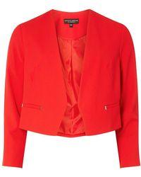Dorothy Perkins - Red Rivet Detail Cropped Jacket - Lyst