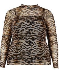 Dorothy Perkins Dp Curve Brown Tiger Print Mesh Top